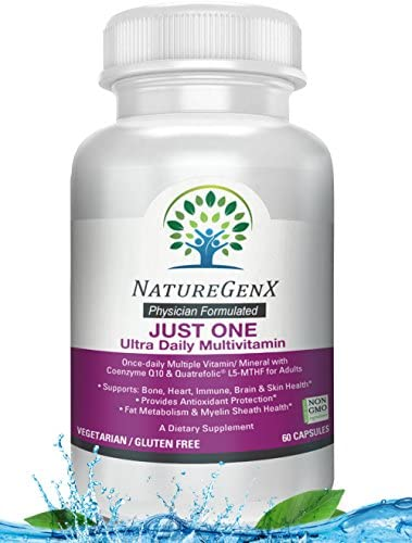 NatureGenX – Just One Ultra Daily MTFHR Support Methylated Multivitamin with ADK, CoQ10, Active Vitamin B12 Methylcobalamin , Quatrefolic L5-MTHF for Woman and Men, Dr Formulated, 60 Capsules