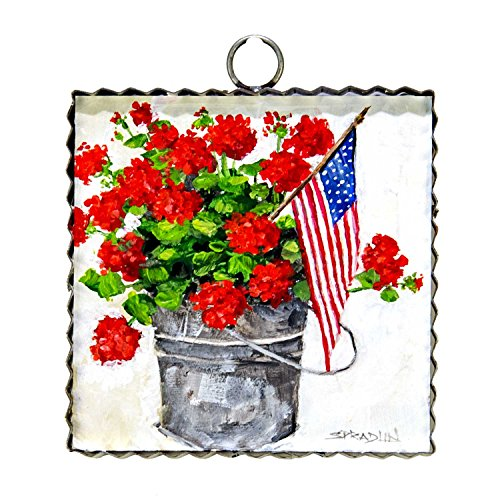 The Round Top Collection Gallery Bucket of Geraniums - Metal & Wood (Top Big Collection)