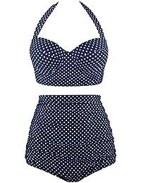 Women Vintage Swimsuits Bikinis Bathing Suits Retro Halter Underwired Top