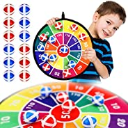 Dart Board Game for Kids with 12 Sticky Balls, Safe Classic Dartboard Set, Dart Games Gift for Boys Girls
