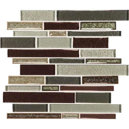 Daltile CSRANDMSP Crystal Shores - Random Linear Mosaic Wall Tile - Smooth Glass, Hazel -