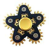 voda 6 Gear Metal Fidget Spinner,Luxury 6 gear linkage spinner toy,High speed EDC fidget toy for stress relief, (Black)