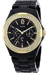 GUESS W0062L8,Women's All Black,Plastic Case & Bracelet,Gold-Tone Bezel With Stones,50m WR