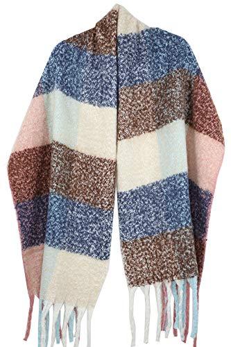 Achillea Women's Oversized Fluffy Plaid Faux-Mohair Shawl Wrap Scarf w/Long Tassels (Pink Blue Brown ()
