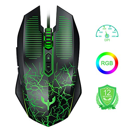 (New) Gaming Mouse Wired, Blade Hawks [Chroma RGB Backlit] [9 Programmable Buttons] [6000 DPI Adjustable] Comfortable Grip Ergonomic Optical PC Gaming Mice with Fire Button for Win 10/8/7/XP Vista Mac