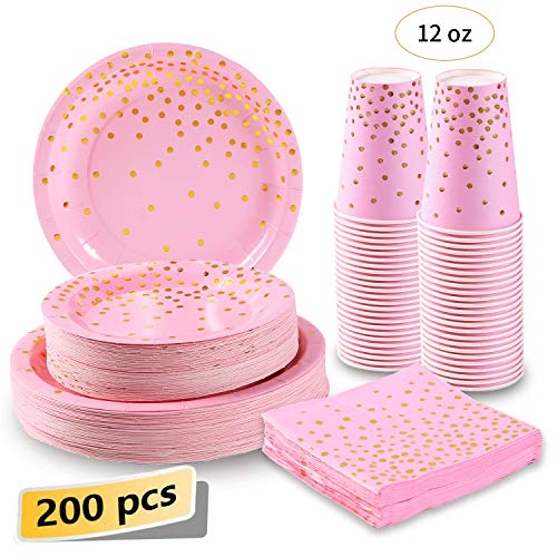 Pink and Gold Party Supplies 200Pcs Disposable Pink Paper Plates 12oz Cups Napkins Dinnerware Set Golden Dot Theme Party Wedding Bachelorette Girl Birthday Baby Shower, Serves 50