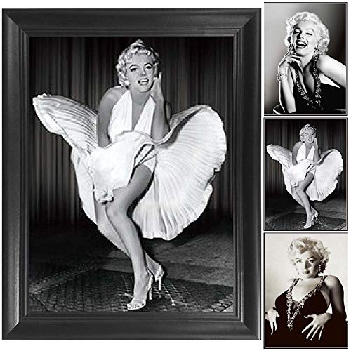 (Marilyn Monroe White Dress 7 Year Itch 3D Poster Wall Art Decor Framed Print | 14.5x18.5 | Lenticular Posters & Pictures | Memorabilia Gifts for Guys & Girls Bedroom | Vintage & Iconic Movie Picture)
