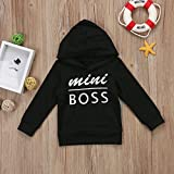 0-5T Baby Boy Girl Mini Boss Hoodie Tops Toddler Hooded Sweater Casual Hoodies with Pocket Outdoor Outfit (1-2 Years, Black)