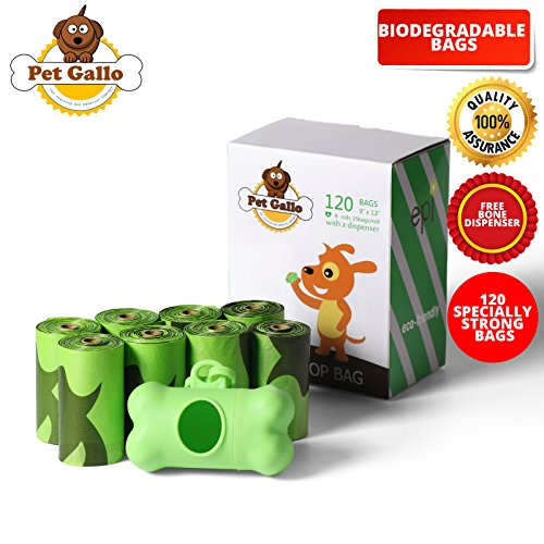 pet gallo Poop Bags for Dog Waste Disposal - 8 Rolls of Scented, Eco-Friendly, Biodegradable Doggy Mess Bags. Easy to Detach and Open - Plus Free Bone Dispenser - Clean ()