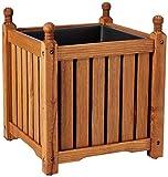 DMC Products 70304 14-Inch Lexington Square Solid Wood Planter, Teak Oil