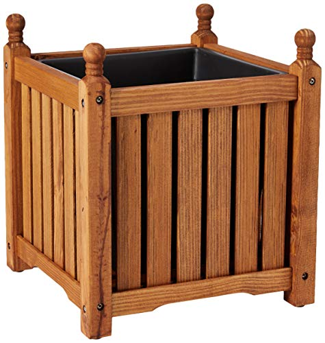 (DMC Products 70304 14-Inch Lexington Square Solid Wood Planter, Teak Oil)