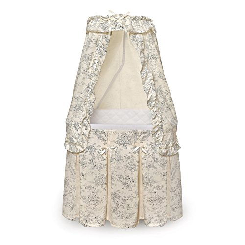 - Durable Badger Basket Majesty Baby Bassinet with Canopy Black Toile Bedding