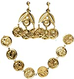 Adults Womens Desert Arabian Princess Gold Coin Earrings And Necklace Accessory