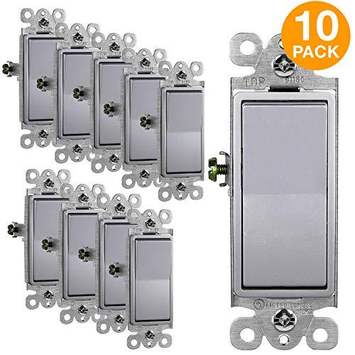 277v Single Pole Switch - ENERLITES Elite Series Decorator Rocker Light Switch, 15A 120V/277V, Single Pole, 3 Wire, Grounding Screw, Residential Grade, UL Listed, 91150-SV, Silver Color (10 Pack)