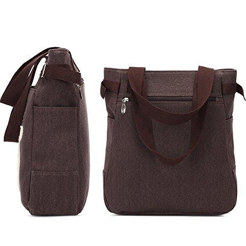 Damen Schultertasche Canvas Damen Handtasche Niedliche Katzen Tasche(¨schwarz) Kaffee 9JwEua