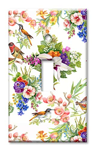 Art Plates Brand Single Gang Toggle Switch/Wall Plate - Watercolor Birds ()