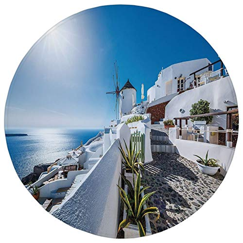 Round Rug Mat Carpet,Summer,Ancient Oia Village in Santorini Island Greece with Aegean Sea Scenery Image,Blue and White,Flannel Microfiber Non-Slip Soft Absorbent,for Kitchen Floor Bathroom