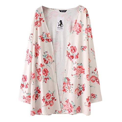 Moda Outerwear Ropa Cardigan Estampadas Abrigos Casuales Mujer Tejido Primavera Elegante Flor Cómodo Manga Larga Hipster Abrigo Blanco prc4cqAE