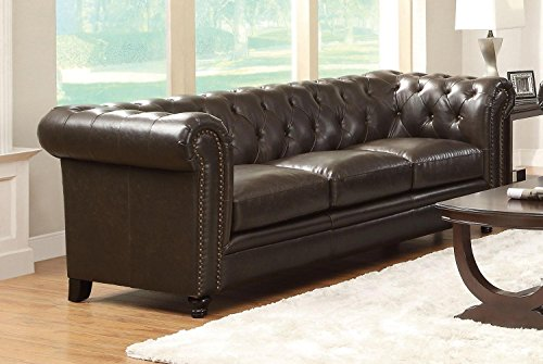 1PerfectChoice Roy Dark Brown Traditional Button-Tufted Sofa