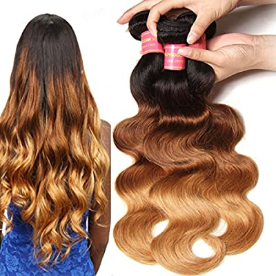 Longqi Hair Ombre Brazilian Virgin 100% Human Hair Fashion Color Three Tone (T1B#/4#/27#) 95-100G/Piece Body Wave Hair Extensions Pack of 3