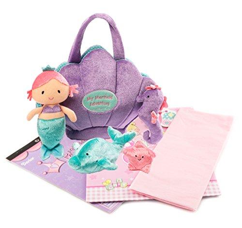 (Mermaid Adventure Playset Gift Combo | Mermaid Adventure Playset 5 Piece Set | Stuffed Animal Toy with Princess Sticker Set | Gift Bag Set)