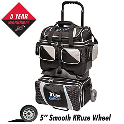 Image of Bowling Roller Bags Columbia 300 Columbia Team Columbia 4 Ball Roller Bowling Bag, Black/Silver