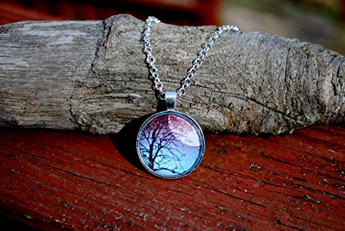 - Full Moon Rising Tree Silhouette Glass Dome Circle Pendant Necklace 24 Inch Chain, Gift For Her