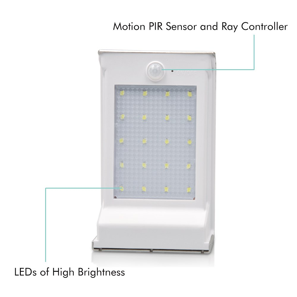 Lumin Tekco 20 LED Luces con Sensor de Movimiento Foco Inalámbrica Seguridad Solar Impermeable Sensor: Amazon.es: Iluminación