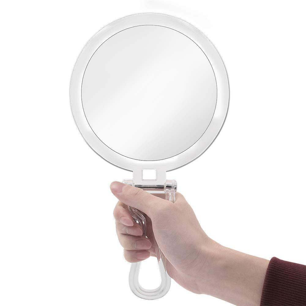 Transparente /& Redondo 1X /& 7X Espejo de Aumento de Viaje para Maquillaje con Asa Ajustable Port/átil 6 cheftick Espejo de Mano de Doble Cara