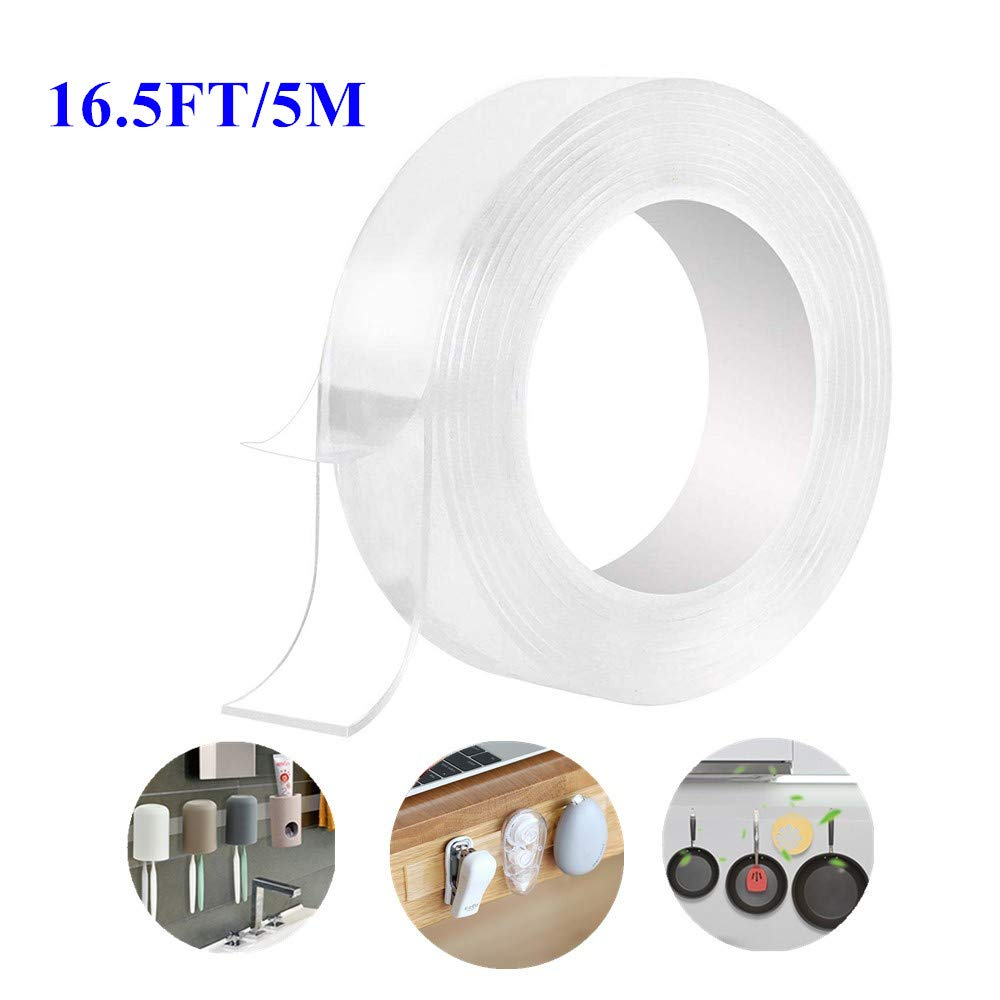 Nano Reusable Tape Double Sided Trace Less Washable Tape,Transparent Heavy Duty Multipurpose Adhesive Tape for Party Decoration and Paste Photos, Posters, Fix Carpet Mats, Paste Items(16.5 FT) by CKE