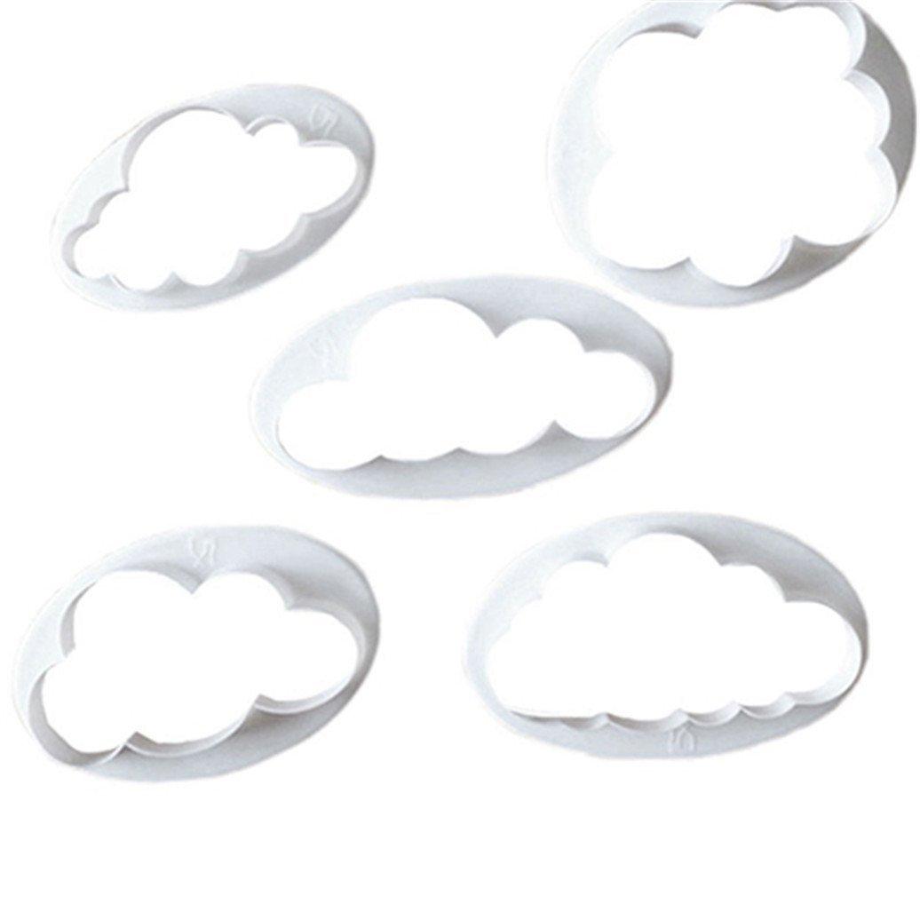 5PCS cute cloud Plastic Cookie Cutters set fondente taglierina torta stampi stampi cake Decorating Tools