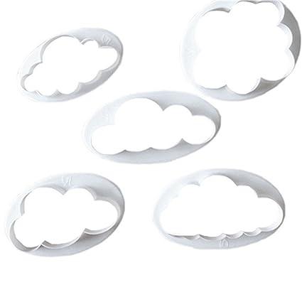 Set de cortadores de galletas de plástico con diseño de nube de cortador de Fondant