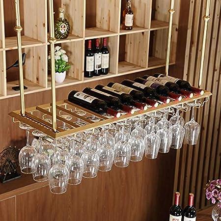Longxs Sostenedor de Copa de Vino Tinto Colgante Boca Abajo Adornos para el hogar Mesa de Bar Estante de Vino Percha de Vino Altura Ajustable - 60 * 35 Oro