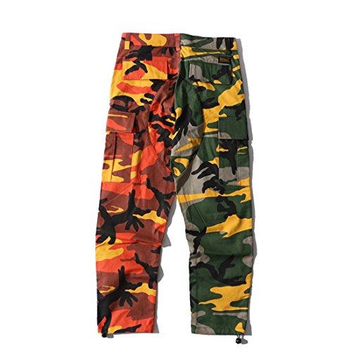 Cargo poches Femme Pantalon Imprimé jaune Niseng Camo Multi 2 amp;orange Casual q1fpIgw