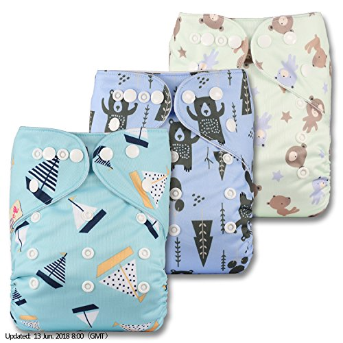 Littles & Bloomz, Reusable Pocket Cloth Nappy, Fastener: Popper, Set of 3,...