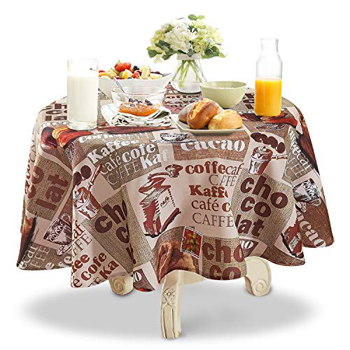 YEMYHOM Modern Printed Spill Proof Cloth Round Tablecloths (60″ Round, Coffee Beans)