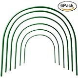 """LBZE 4ft long Steel with Plastic Coated hoops,Greenhouse Hoops,Grow Tunnel,Support Hoops for Garden Fabric,6Pcs (Arch Size: 18.9"""" H x 18.9"""" W)"""
