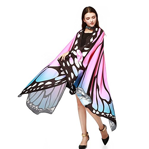 Ladies Tops Butterfly Wings Shawl Scarves Fairy Poncho Nymph Pixie Costume Accessory Blouse (Free Size, Pink)
