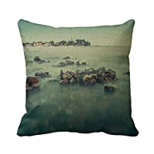 Home Decorative Square Custom Throw Pillow Cover Theme Nature Simple Theme Nature Wonderful 20 X 20Inches Cotton Linen Comfortable Throw Pillowcase