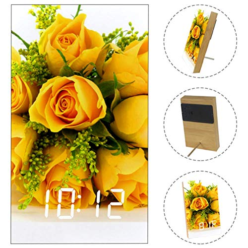 Romantic Yellow Rose LED Digital Clock with USB Port Battery Operated Temperature Date Time Alarm Clock for Home Office