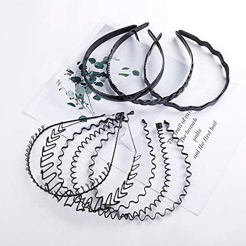 8 piezas Unisex banda para el cabello de metal, aro de plástico para el cabello, ropa de moda para hombres, diadema con buena elasticidad para el baño, deportes, peinado, aplicación de máscaras
