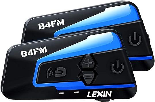 reducci/ón de Ruido a Prueba de Agua Distancia de intercomunicaci/ón Dentro de 1200M LEXIN 2X ET-COM Motociclistas Intercomunicador Bluetooth Sistema de comunicaci/ón con funci/ón de Radio FM