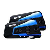 LEXIN 2pcs B4FM Motorcycle Bluetooth Intercom with FM Radio, Helmet Bluetooth Headset With Noise Cancellation Up to 4 Riders, Universal Off-road/Snowmobile Communication Systems