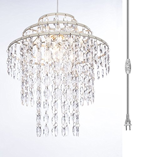 The Original Gypsy Color One Light 3-Ring Plugin Chandelier with Three Tiers of Hanging Crystals H14