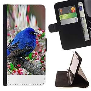 Momo Phone Case / Flip Funda de Cuero Case Cover - Robin Pájaro azul de la primavera flor de manzano - Motorola Moto E ( 1st Generation )