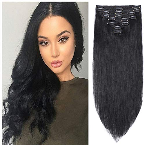 s-noilite Clip in Human Hair Extensions 100% Real Remy Thick True Double Weft Full Head 8 Pieces 18 clips Straight silky (16 inch - 130g,Jet Black (#1))