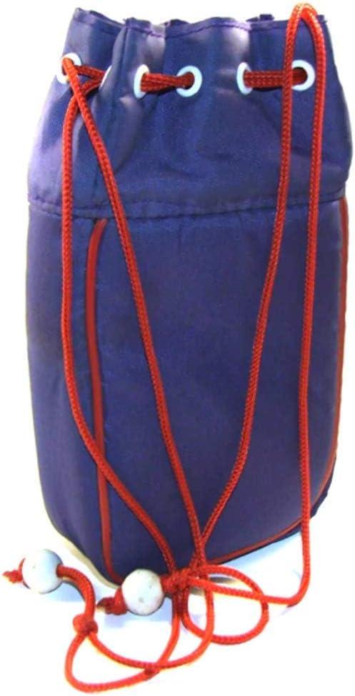 Purple Nylon Drawstring Camera Bag With Red String