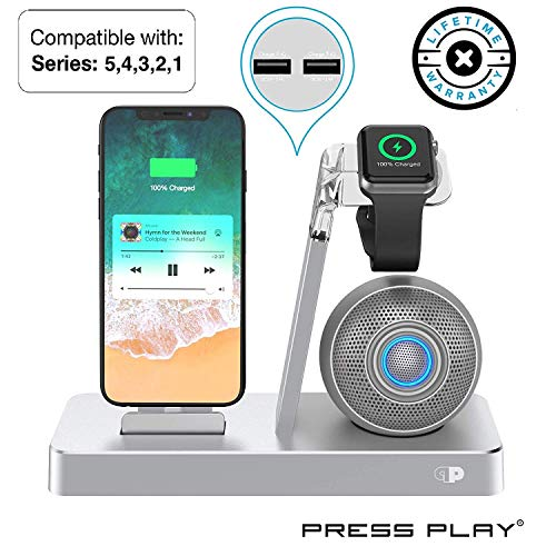 Press Play ONE Dock Beat [Apple Certified] Power Station + Wireless Speaker Dock, Stand & Charger for Apple Watch Smart Watch, iPhone, iPad & iPod w/Original Lightning Connector (Iphone And Ipad Docking Station With Speakers)
