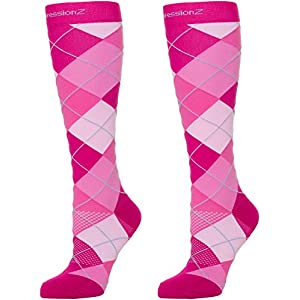 Compression Socks 30-40mmHg (1 Pair - Argyle Pink XL) - Best High Performance Athletic Running Socks - Men & Women