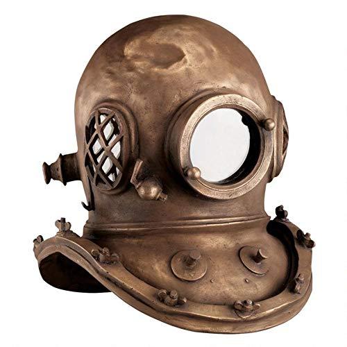 Design Toscano Deep Sea Diver s Helmet Replica Statue, 16 Inch, Fiberglass Polyresin, Bronze Finish